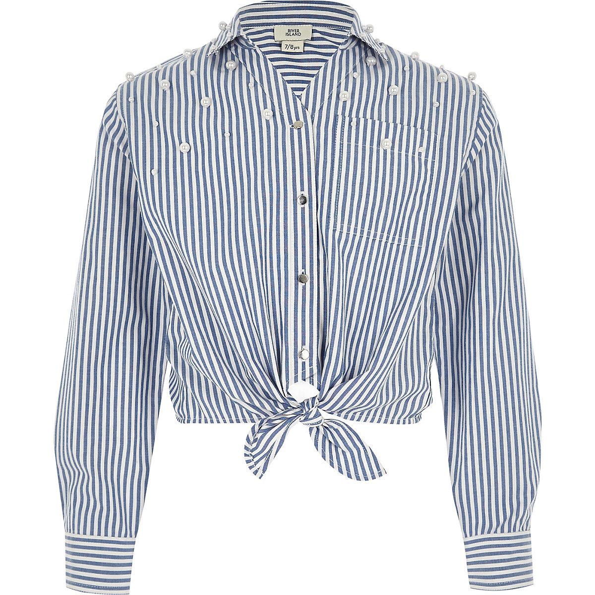 Girls blue stripe pearl tie front shirt
