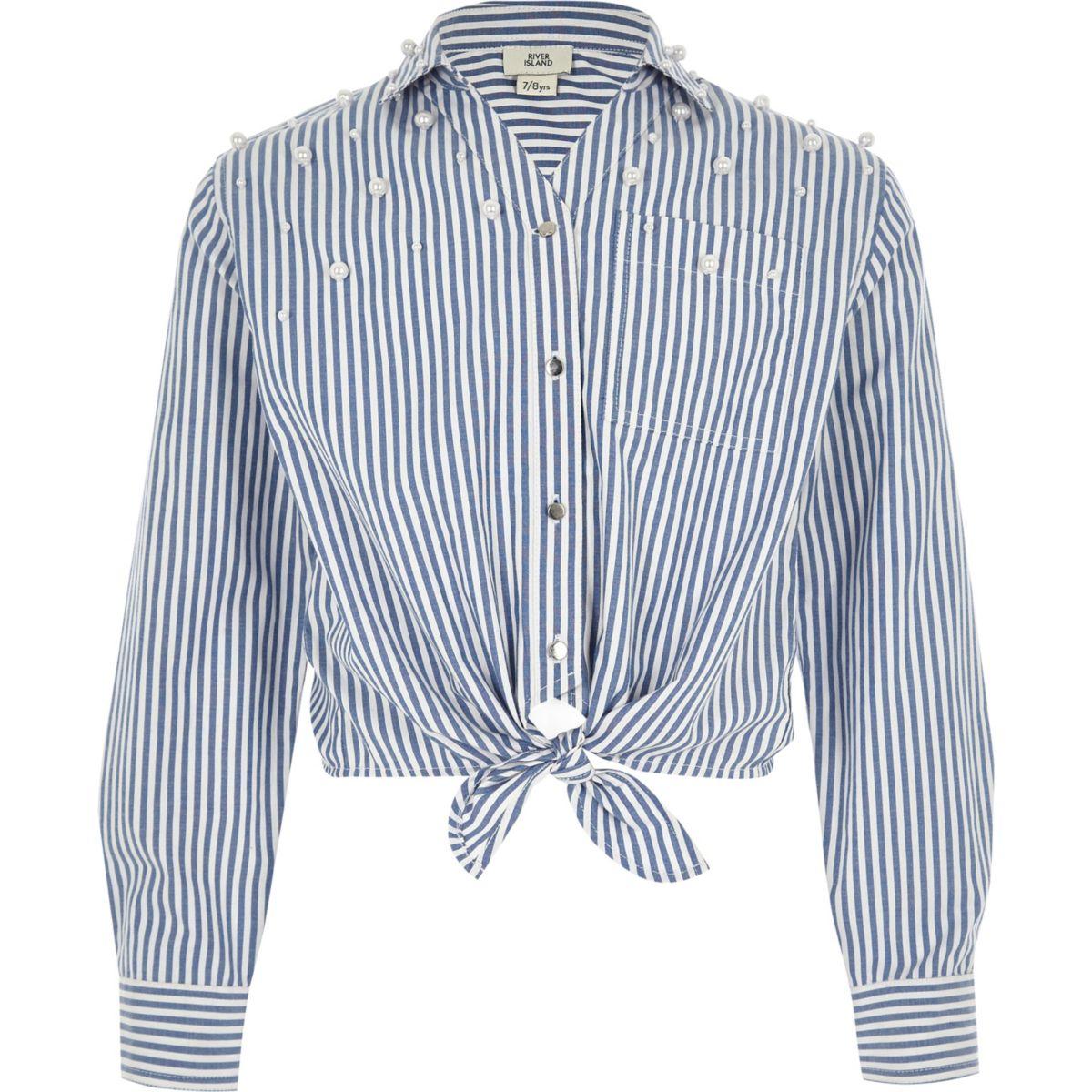 Chemise rayée bleue nouée sur le devant à perles pour fille