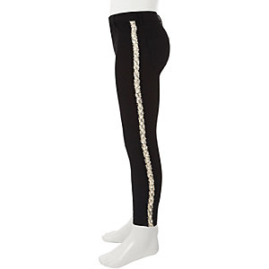 Girls black Molly pearl tape jeans