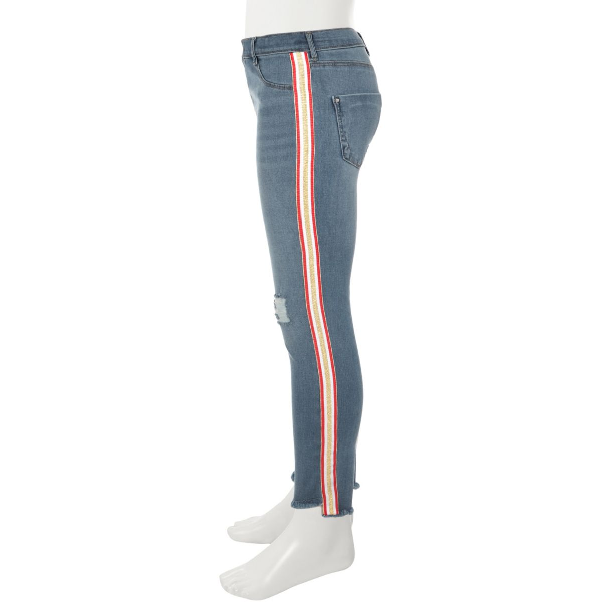 Girls blue Molly pink tape ripped skinny jean