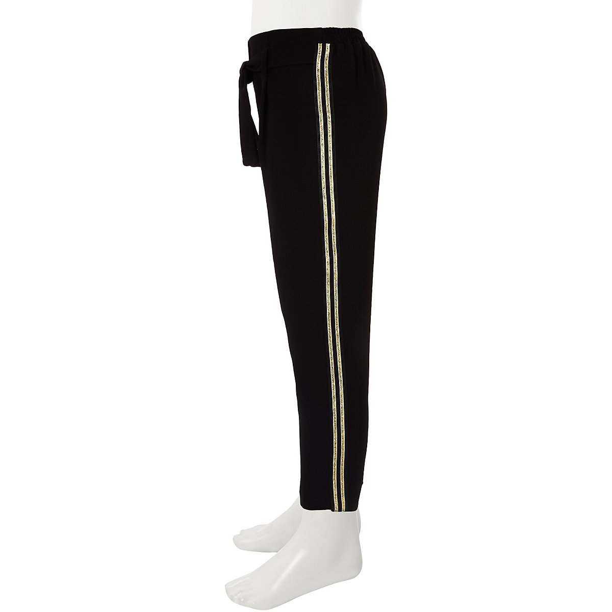 Girls black tie waist tapered trousers