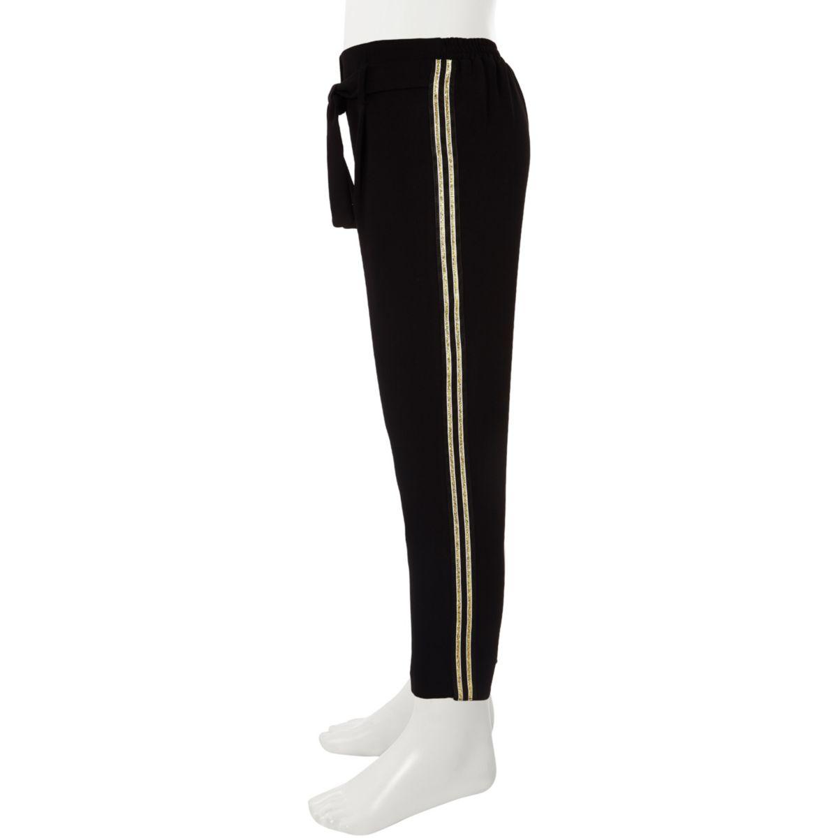 Girls black tie waist tapered pants