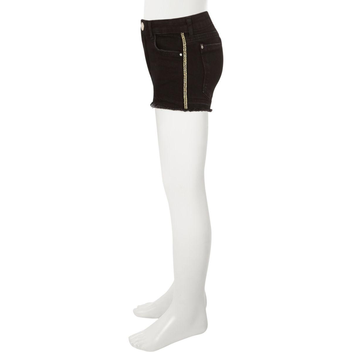 Girls black denim frayed hem shorts