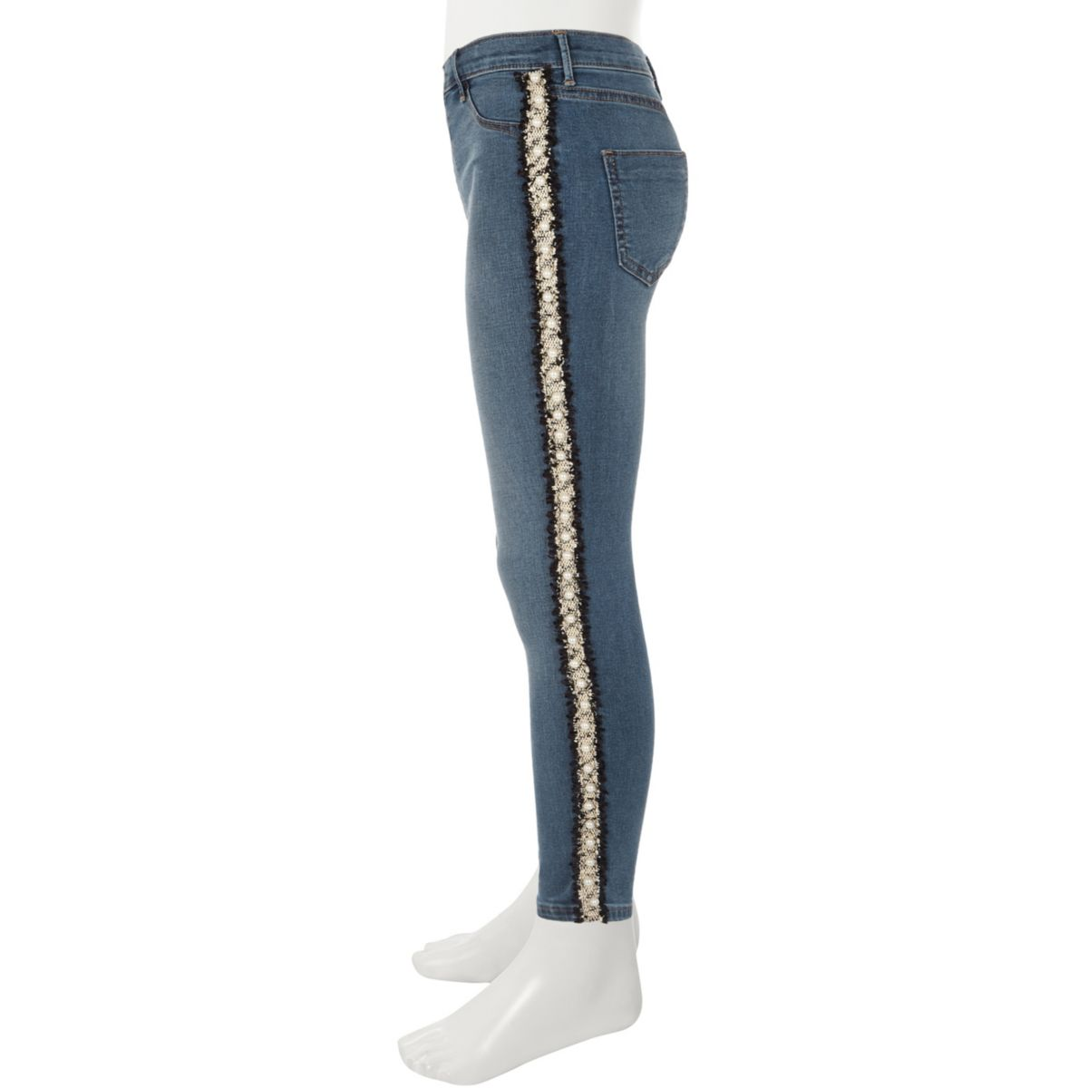 Girls mid blue Molly pearl tape jeans