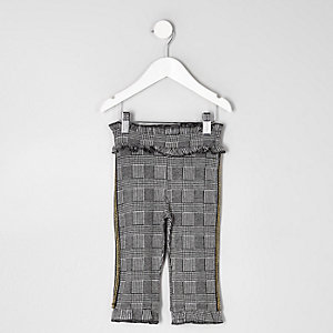 Pantalon gris à carreaux mini fille