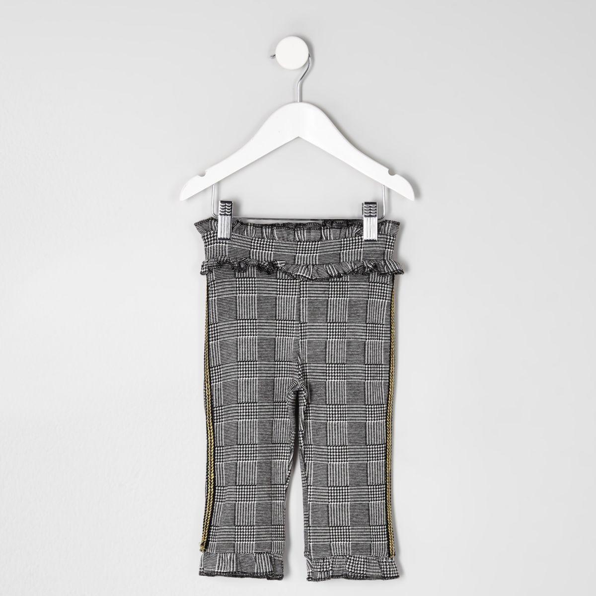 Mini girls grey check trouser