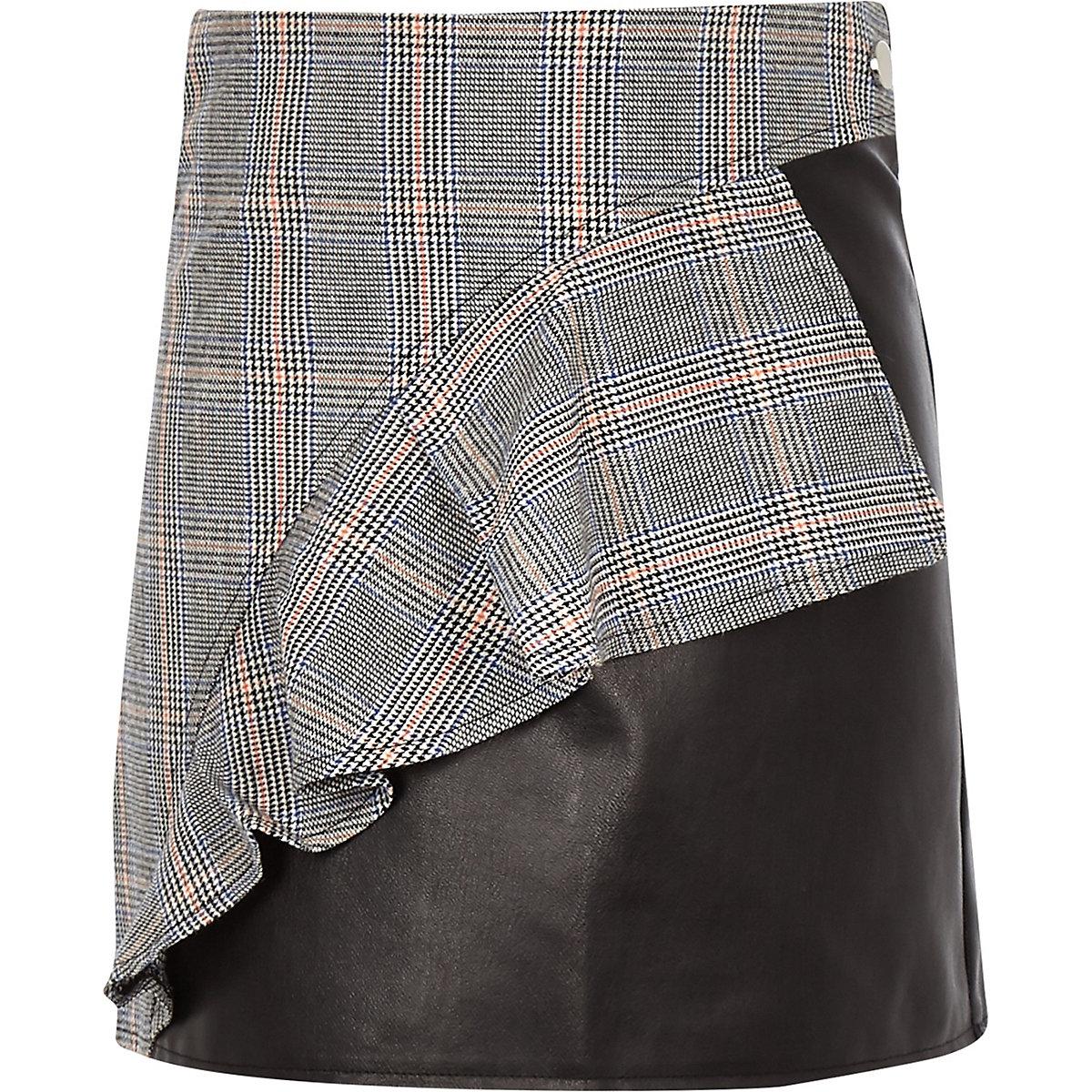 Girls black check print leather frill skirt