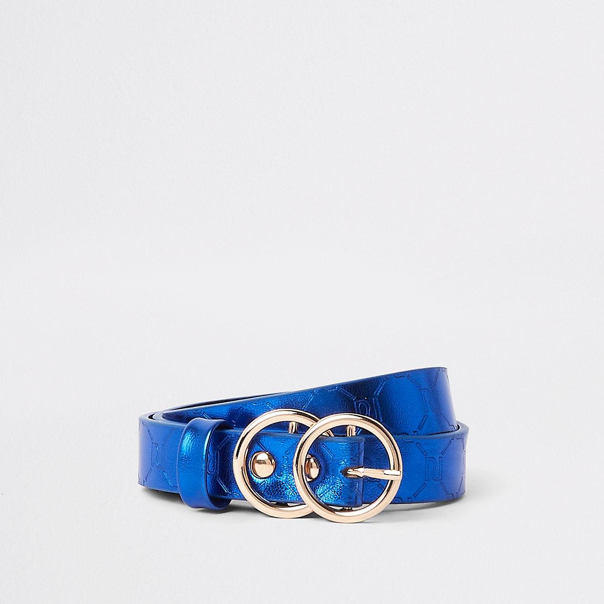 Girls blue metallic RI monogram belt