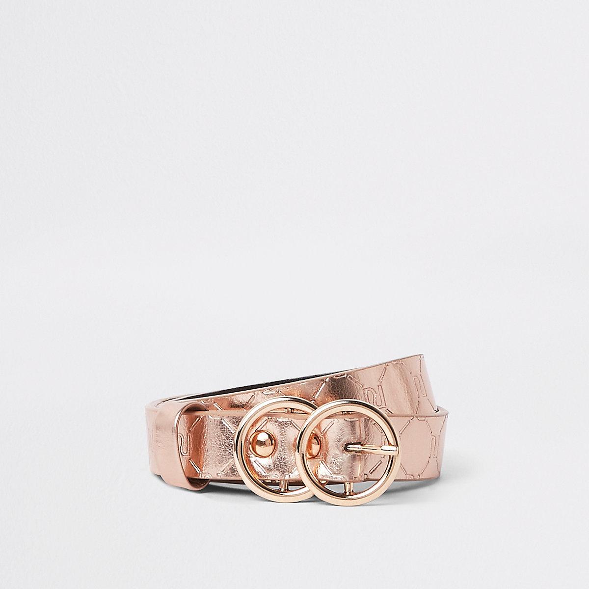 Girls pink metallic RI monogram belt