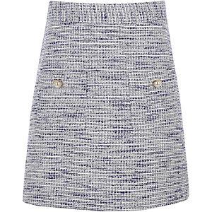 Mini-jupe en maille bouclette bleue pour fille