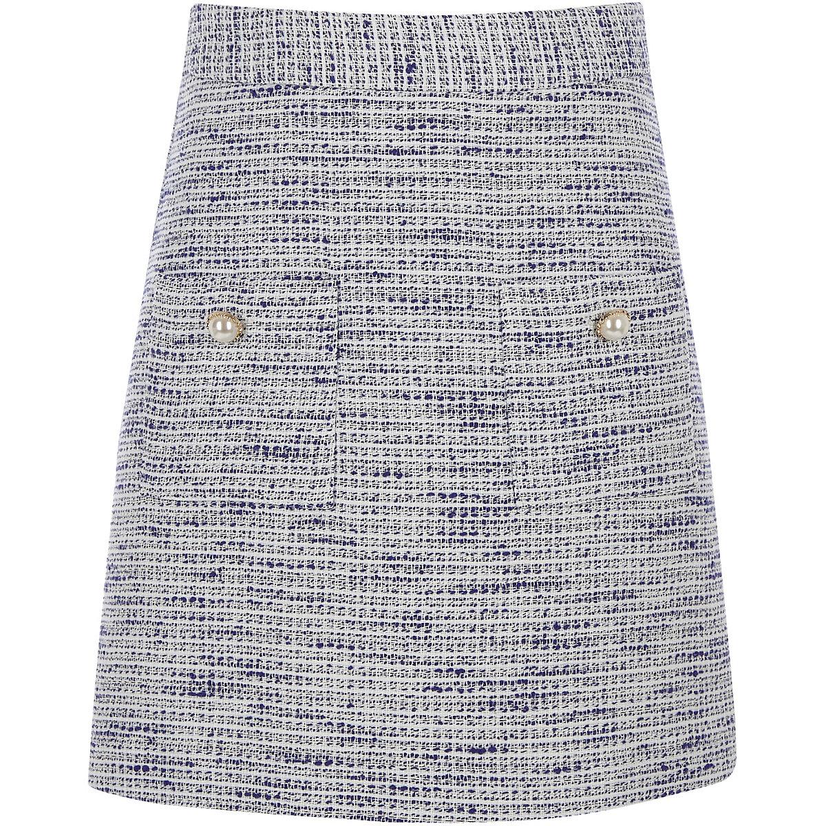 Girls blue boucle mini skirt