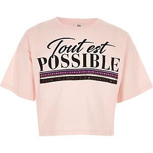T-shirt rose clair à imprimé « tout est possible » pour fille