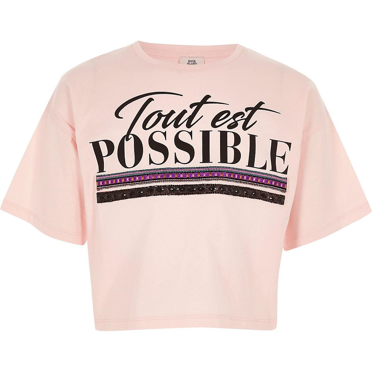 Girls light pink 'tout est possible' T-shirt