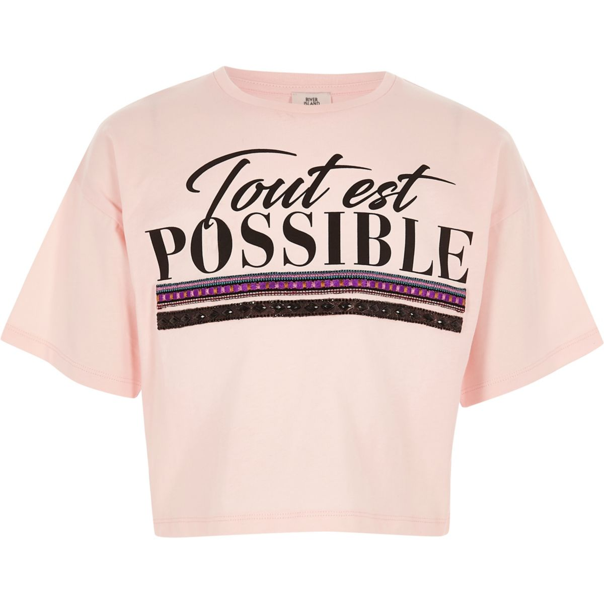 Girls light pink 'tout est possible' T-shirt