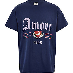 Girls navy 'amour' jewel embellished T-shirt