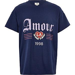 T-shirt «amour» bleu marine orné de pierres fantaisie pour fille