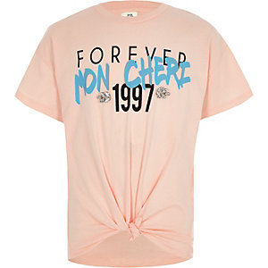 Girls pink 'Cheri' print embellished T-shirt