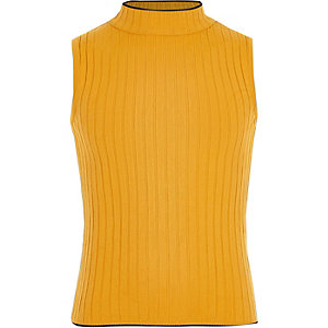 Girls yellow rib tank top