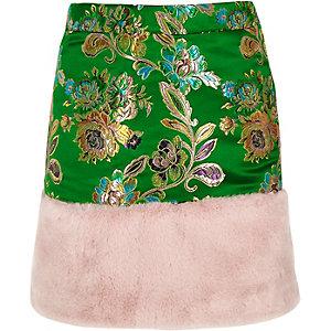 Girls green jacquard faux fur trim mini skirt