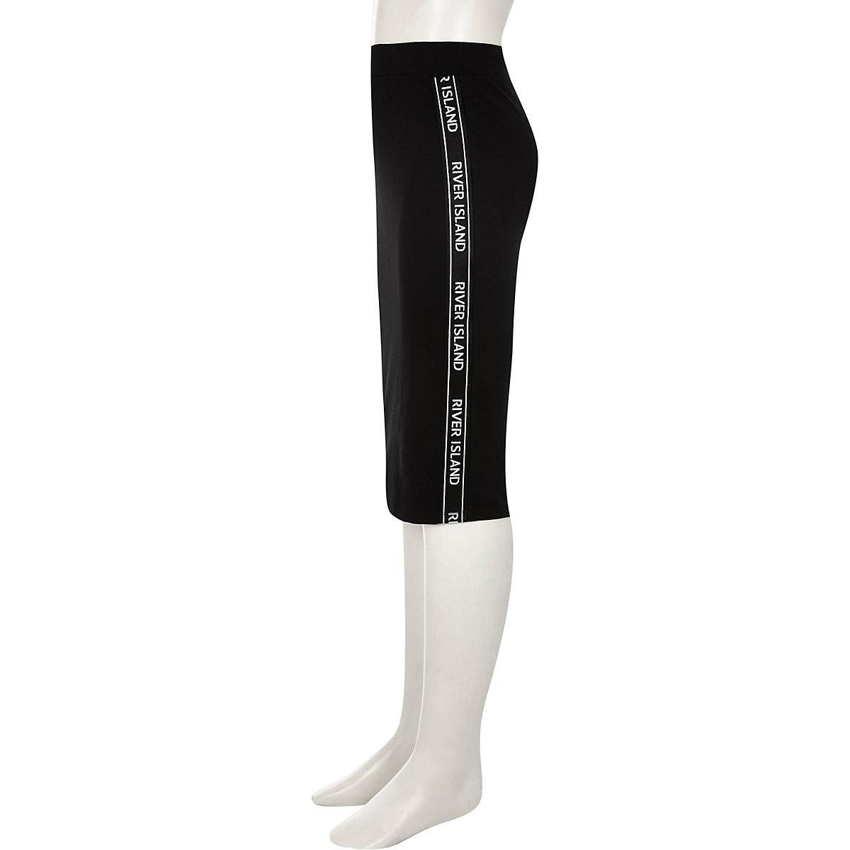 Girls black RI tape side tube skirt