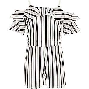 Girls black stripe cold shoulder romper