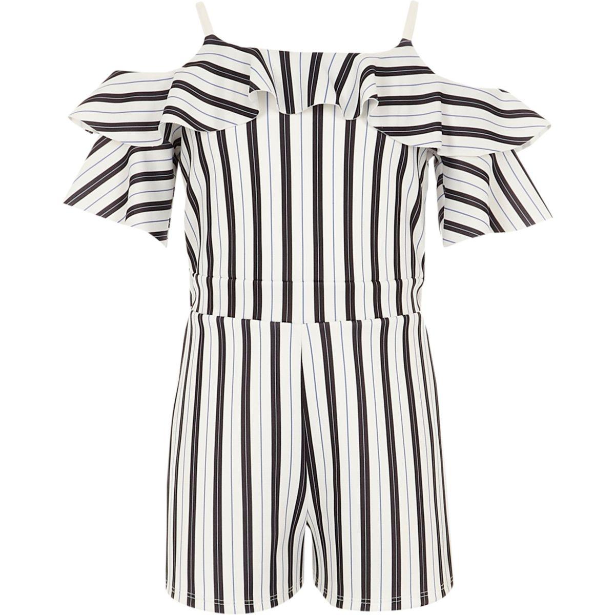 Girls black stripe cold shoulder playsuit
