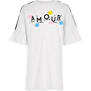 Robe t-shirt blanche à fronces avec imprimé amour