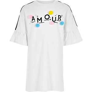 Witte T-shirtjurk met ruches en 'amour'-print voor meisjes