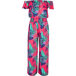 Roze jumpsuit in bardotstijl met tropische print voor meisjes