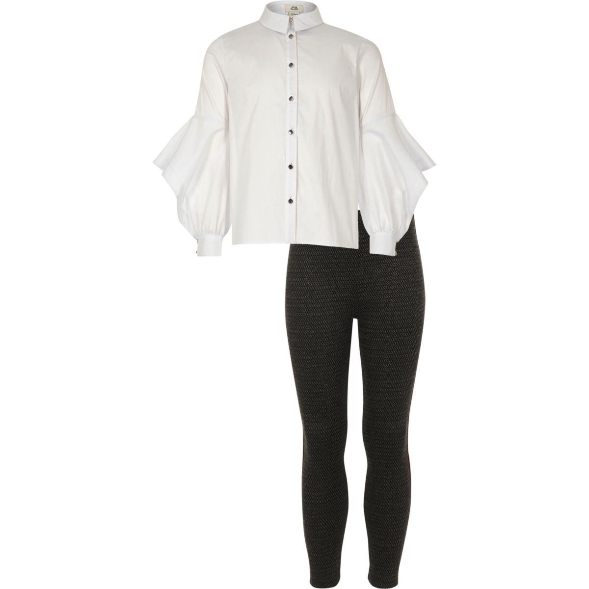 Girls white button shirt and leggings outfit