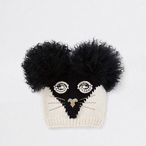 RI 30 – Bonnet tête de chat noir pour fille