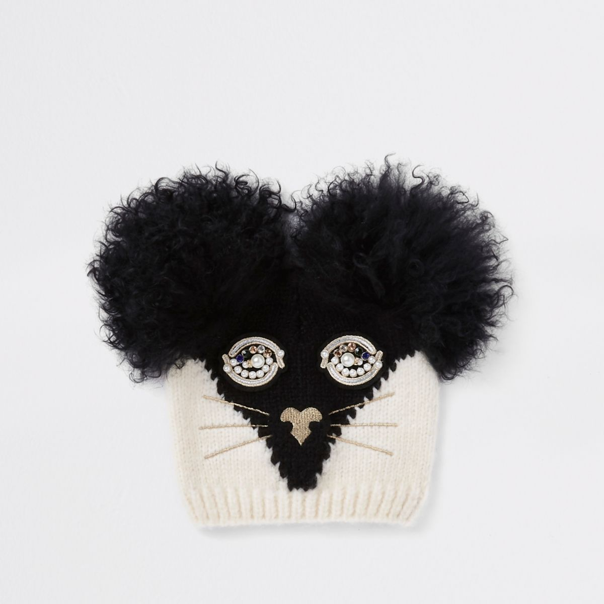 RI 30 girls black cat face beanie hat