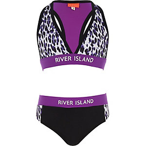 Girls purple leopard print tankini