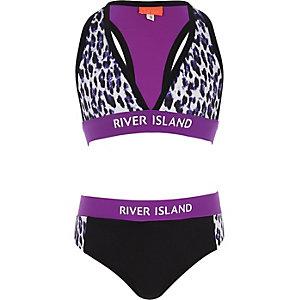 Paarse bikini met luipaardprint voor meisjes