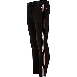 Amelie - Zwarte distressed jeans met bies voor meisjes