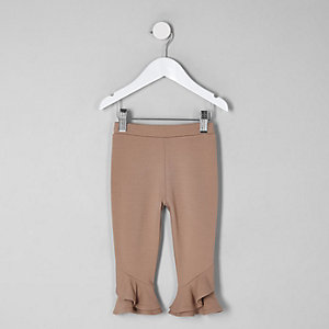 Mini girls beige frill hem leggings