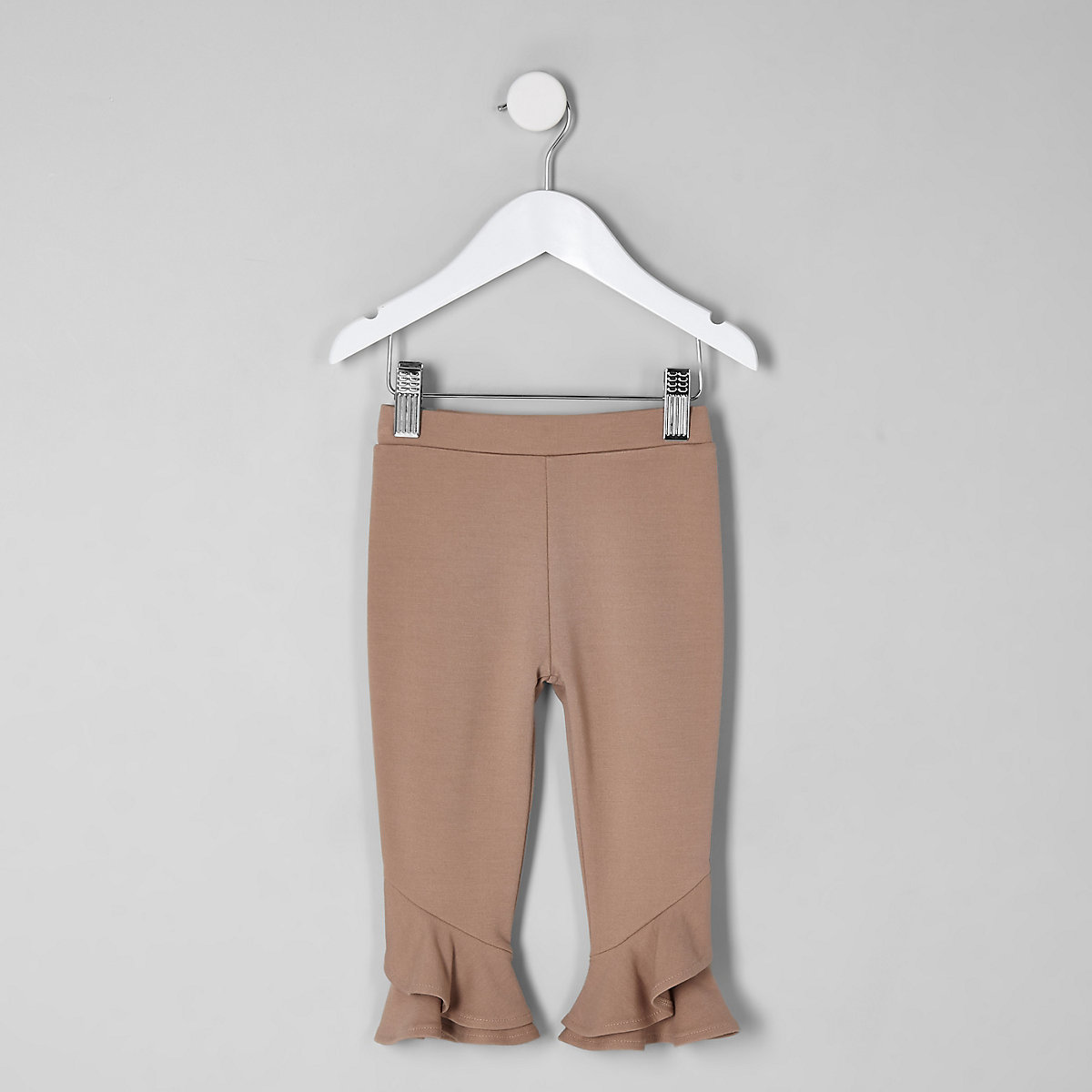 Mini girls beige frill hem leggings