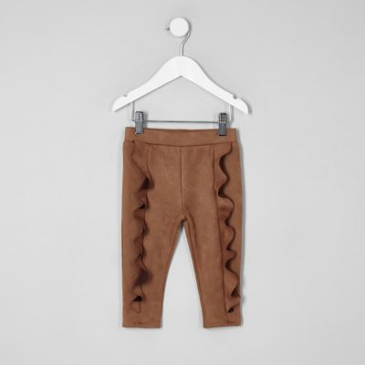 Mini Girls Brown Faux Suede Frill Leggings by River Island