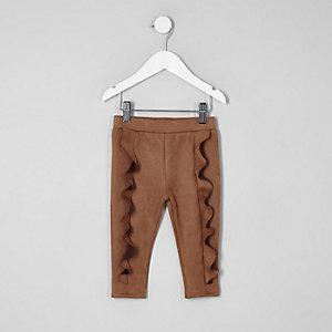 Mini - Bruine legging van imitatiesuède voor meisjes