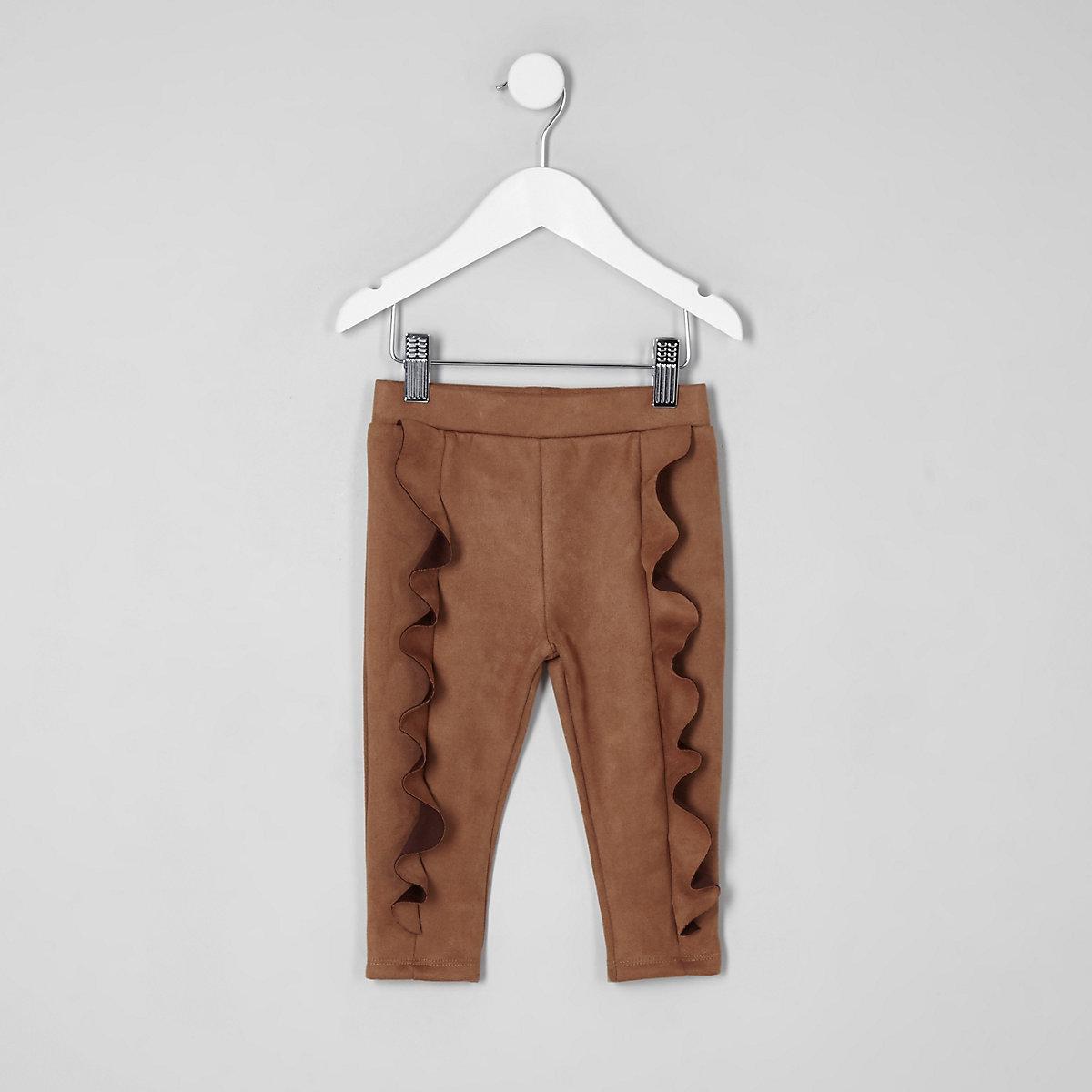 Mini girls brown faux suede frill leggings