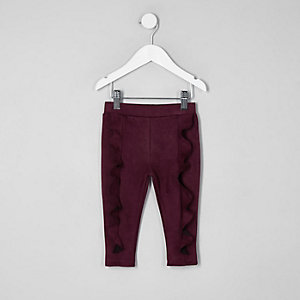 Mini girls purple faux suede frill leggings