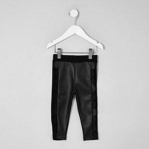 Mini girls black scallop front leggings