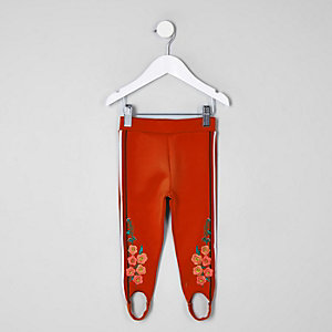 Mini girls red floral tape leggings