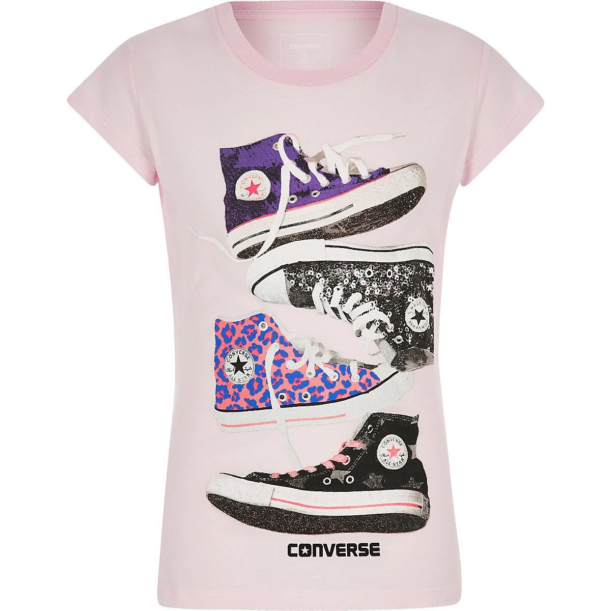 Converse – T-shirt Chuck rose pour fille