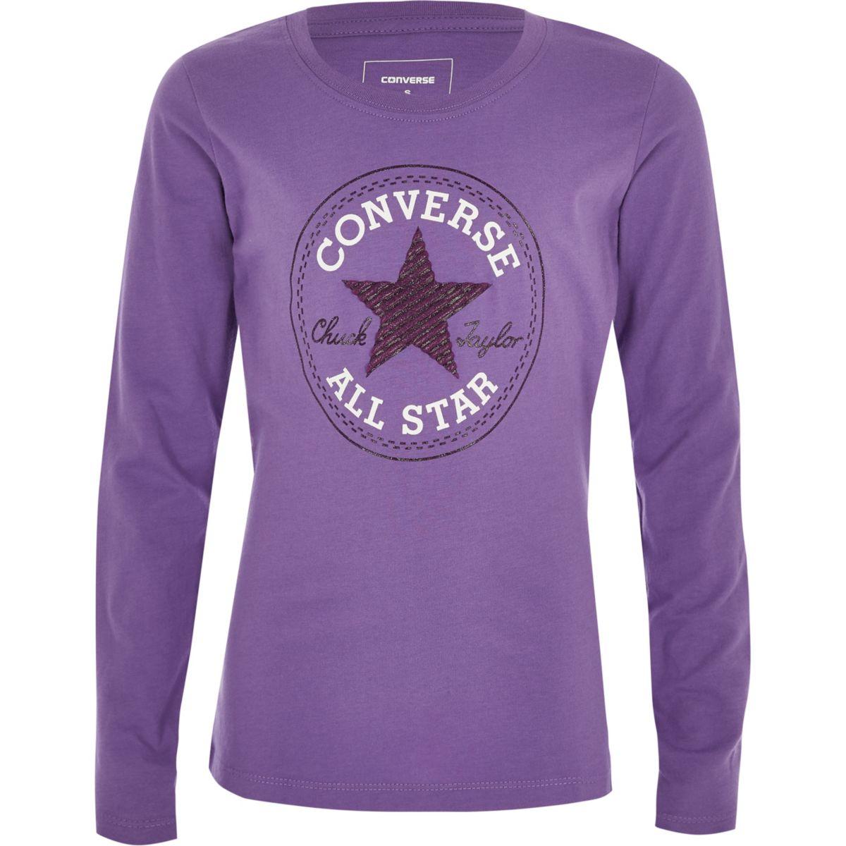 T-shirt Converse manches longues violet pour fille