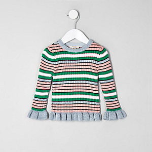 Mini girls green stripe lettuce edge sweater