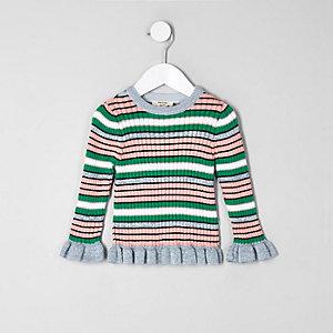 Mini - Groene gestreepte pullover rmet geplooide rand voor meisjes