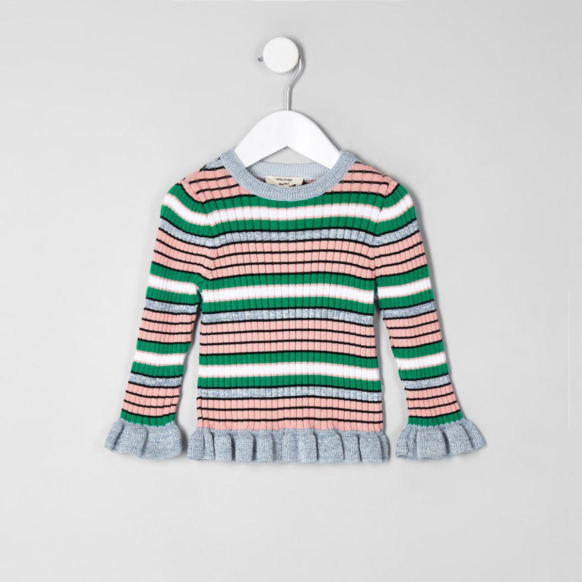 Mini girls green stripe lettuce edge sweater
