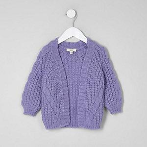 Cardigan en maille torsadée épaisse violet mini fille
