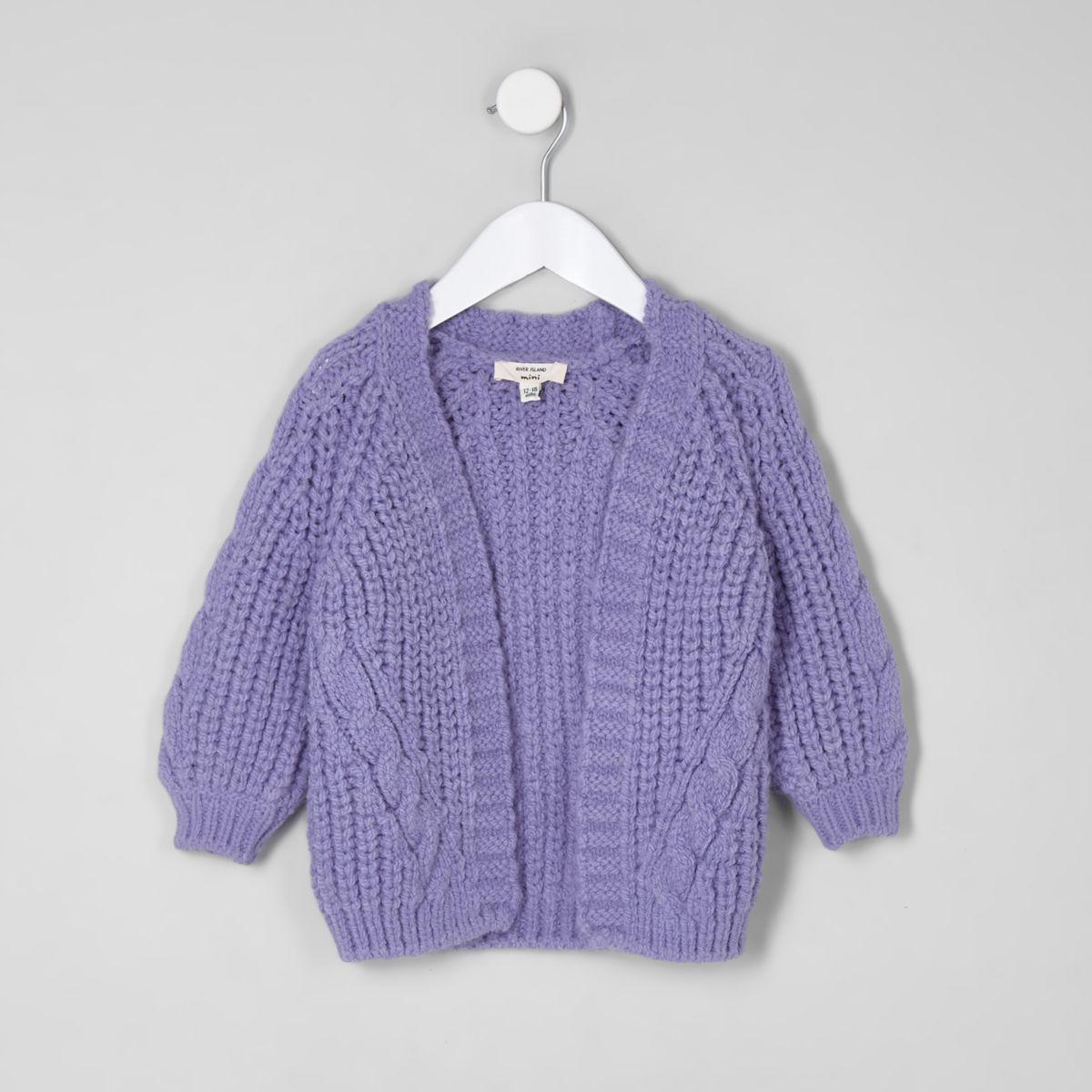 Mini girls purple chunky cable knit cardigan